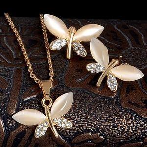gold Cz Buterfly Earrings necklace set